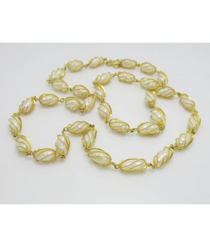 สร้อยคอ มุก สีขาว ลายเกลียว รอบเส้น ทอง18K งานสวย น่ารักมาก นน. 36.31 g