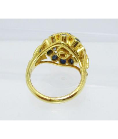 แหวน ไพลิน เจียร ทรงพุ่ม ทอง18K งานเก่า หลุดจำนำ สวยมาก นน. 4.50 g