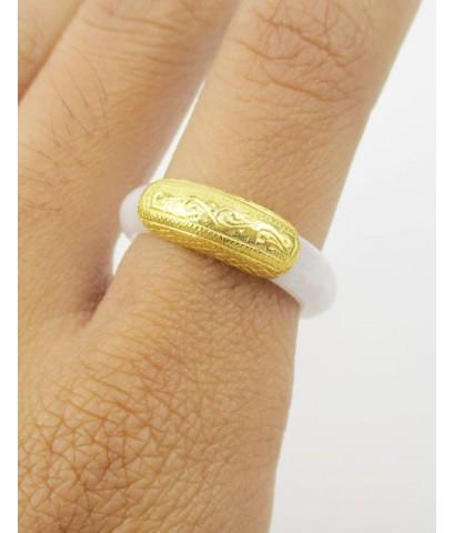 แหวน หยก เกาะทอง90 แกะลายไทย งานเก่า หลุดจำนำ Size 55 นน. 3.46 g