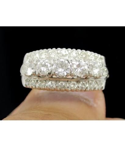 แหวน เพชรแถวชู 5/0.45 ct ฝังเพชรกุหลาบ 20/0.28 ct งานทองขาวโบราณ (ปาหะ) นน. 4.37 g