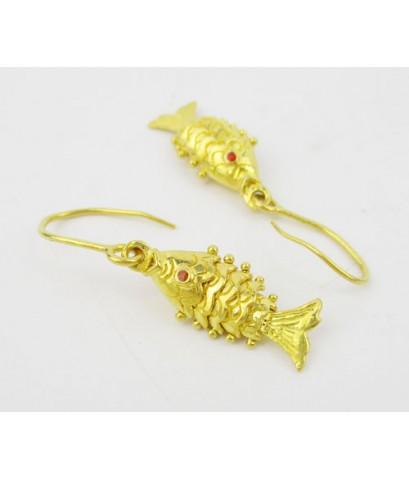 ต่างหู ปลาทอง ตาแดง ตุ้งติ้ง ตะขอเบ็ด ทอง96.5 งานสวยน่าสะม นน. 7.55 g