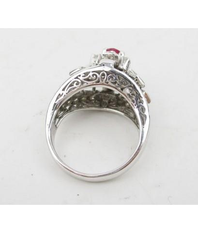 แหวน ทับทิม เจียร ฝังเพชรกุหลาบ 34 เม็ด 0.50 กะรัต งานทองขาวโบราณ(ปาหะ) นน. 4.70 g