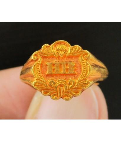 แหวน ปีกกา อักษร H R ทอง100 งานเก่า ทองโบราณ นน. 3.81 g