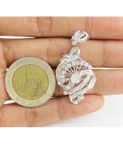 จี้ + เข็มกลัด เพชรโบราณ 0.20 กะรัต ล้อมเพชรกุหลาบ 47/0.55 ct งานทองขาวโบราณ(ปาหะ) นน. 5.40 g