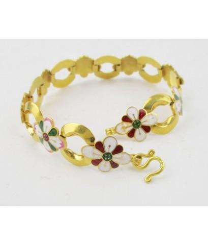 สร้อยข้อมือ ทองลงยา ลายดอกไม้ คั่นห่วง รอบเส้น ทอง90 ทองเก่า งานโบราณ สวยมาก นน. 24.00 g