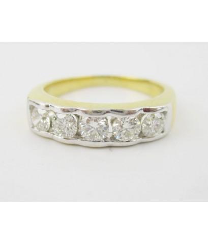แหวน เพชรแถว 5 เม็ด 0.70 กะรัต ทอง90 เพชรสวย เล่นไฟ วิ้ง วิ้ง นน. 4.95 g