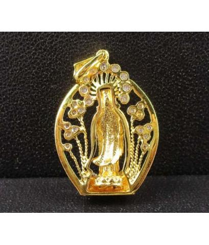 เจ้าแม่กวนอิม เนื้อทองคำ กรอบทอง ฝังเพชร 32 เม็ด 0.27 กะรัต นน. 5.12 g