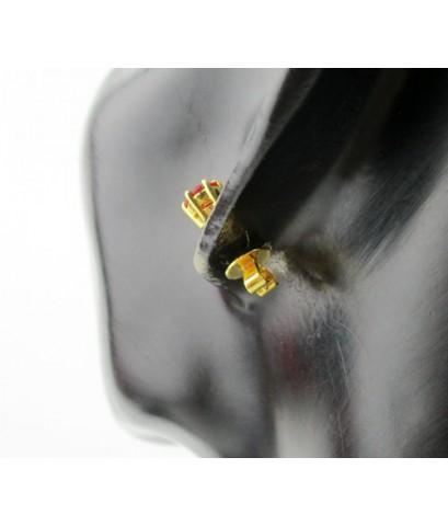 ต่างหู พลอยแดง เจียร เม็ดเดี่ยว 2 เม็ด ทอง90 งานสวย น่ารักมาก นน. 2.46 g