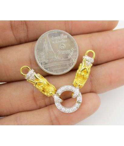 ขั้วห่วงเพชร หัวมังกรคู่ เพชร 52 เม็ด 0.40 กะรัต ทอง90 เพชรสวย เล่นไฟ วิ้ง วิ้ง นน. 7.16 g