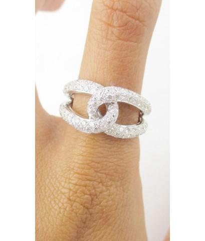 แหวน เพชรแถวไขว้ เพชร 86 เม็ด 1.46 กะรัต ทอง18Kขาว เพชรสวย เล่นไฟ วิ้ง วิ้ง นน. 7.40 g
