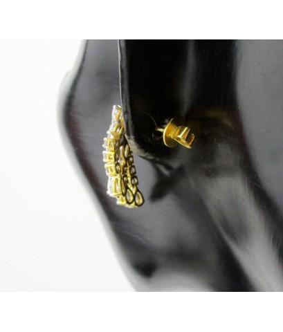 ต่างหู เพชรแฟนซี ระย้า เพชร 50 เม็ด 3.80 กะรัต ทอง90 เพชรสวย เล่นไฟ วิ้ง วิ้ง นน. 8.71 g