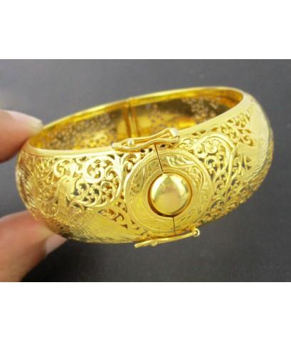 กำไล ทอง90 ฉลุลาย มังกร หงส์ ทองเก่า งานโบราณ สวยมาก นน. 50.36 g