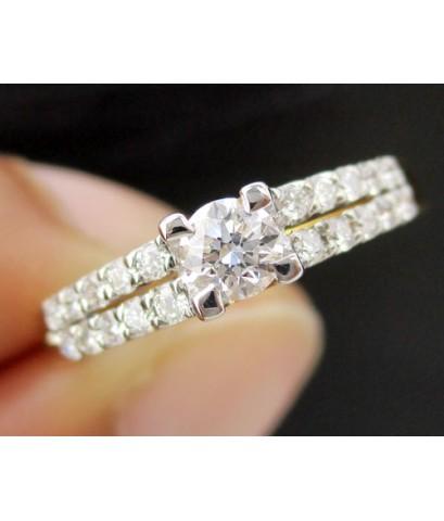 แหวน เพชรเดี่ยวชู 0.17 กะรัต ฝังเพชร 2 แถว 20 เม็ด 0.20 กะรัต ทอง90 งานสวยมาก นน. 2.42 g