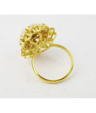 แหวน โอปอล หลังเบี้ย กระจุก ทรงพุ่ม ทอง18K งานเก่า หลุดจำนำ สวยมาก นน. 3.96 g