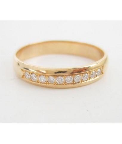 แหวน เพชรแถว ฝังสอด 10 เม็ด 0.15 กะรัต สี Pink gold ทอง18K งานสวยมาก นน. 3.68 g