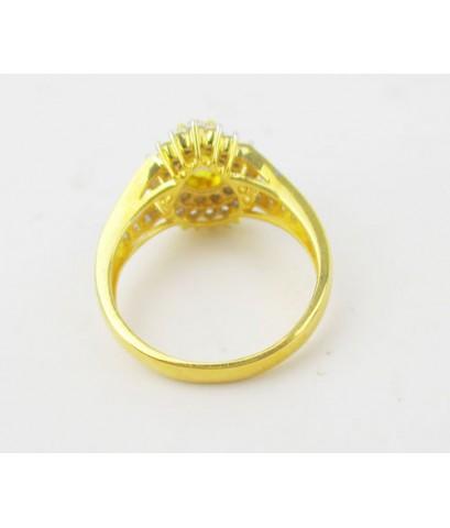 แหวน บุษราคัม ทรงหยดน้ำ 1.00 กะรัต ล้อมเพชร 2 ชั้น 47 เม็ด 0.67 กะรัต ทอง90 งานสวยมาก นน. 5.08 g