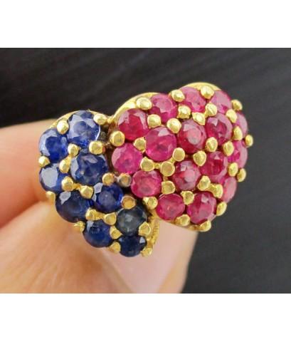 แหวน ทับทิม ไพลิน เจียร ลายหัวใจคู่ ทอง90 งานสวย น่ารักมาก นน. 8.31 g
