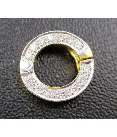 ขั้วไหหลำ ห่วงเพชร 14 เม็ด 0.12 กะรัต ทอง18K เพชรสวย เล่นไฟ วิ้ง วิ้ง นน. 1.31 g