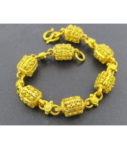 สร้อยข้อมือ ทอง100 ฉลุลาย ปะวะหล่ำ รอบเส้น งานเก่า ทองโบราณ สวยมาก นน. 30.40 g