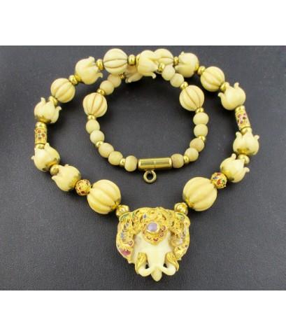 สร้อยคอ งาแกะ หัวช้าง เม็ดมะยม หัวบัว คั่นเม็ดทอง ลงยา ทอง90 งานเก่า ทองโบราณ สวยมาก นน. 55.48 g