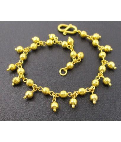 สร้อยข้อมือ ทอง96.5 ลายเม็ดประคำ ระย้า ตุ้งติ้ง ทองเก่า งานโบราณ นน. 8.11 g