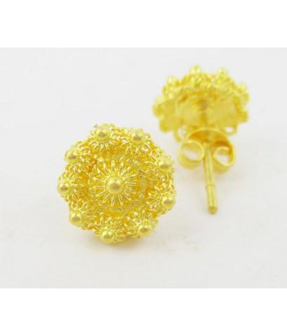 ต่างหู กระดุม ดอกบัว สัตตบงกช ทอง96.5 งานเก่า ทองโบราณ สวยมาก นน. 3.80 g