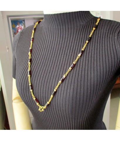 สร้อยคอ โกเมน แท่งเหลี่ยม คั่นทอง รอบเส้น ทอง90 งานเก่า หลุดจำนำ สวยมาก นน. 67.78 g
