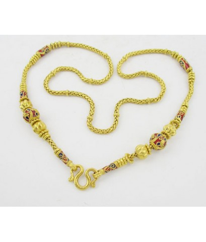 สร้อยคอ ทอง99.99 ลายทางมะพร้าว คั่นเม็ดทองลงยา เม็ดมะยม ทองเก่า งานโบราณ สวยมาก นน. 70.00 g