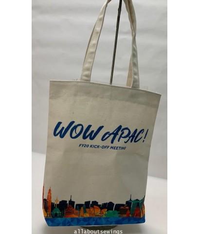 กระเป๋าผ้าเเคนวาส ดิบ Digital logo Print