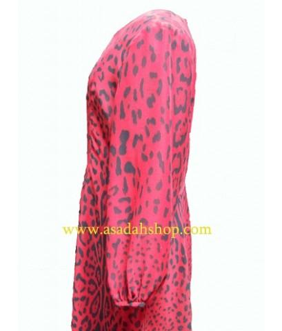 ชุดผ้าชีฟองลายเสือสีแดง  (มีสินค้าพร้อมส่ง ไซส์เล็ก)