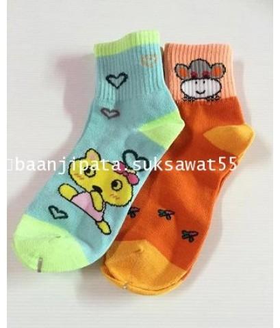 ถุงเท้าผู้ใหญ่ ข้อยาว คละสีโทนสีสด