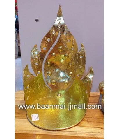 แท่นพระโลหะปิดทองคำเปลว พร้อมพระพุทธรูปเชิงเทียน
