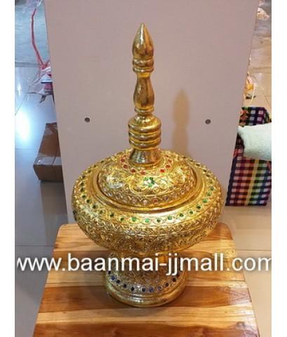 ผะอบไม้ปิดทองทรงสูงเดินเส้นทองลายไทย ประดับตกแต่งกระจกสี