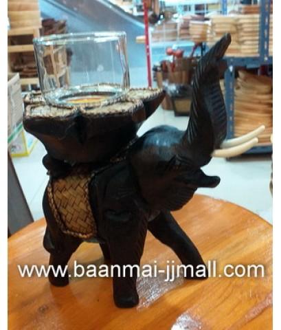 เชิงเทียนหอมช้างชูงวงพร้อมครอบแก้ว