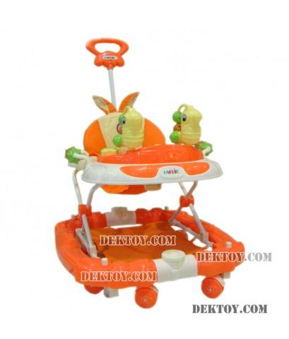 รถหัดเดินเด็กฟาร์ลินหน้าม้าน้ำ 4 in 1 ส้ม