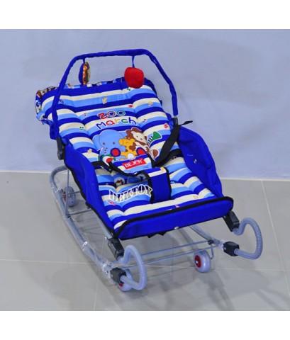 BEJOY เปลโยกเด็กขาสปริง BJ A82/1 ลายZoo marchสีฟ้า