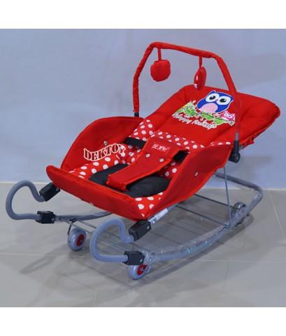 BEJOY เปลโยกเด็กขาสปริง BJ A82/1 ลายนกฮูกสีแดง