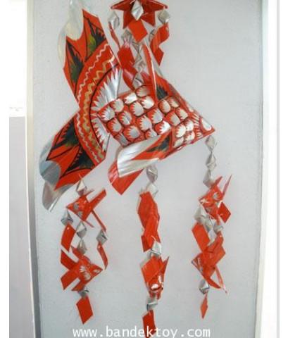 โมบายปลาตะเพียน สีแดง+เงิน