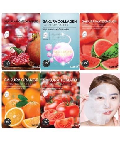 Sakura facial mask sheet   มี 5 สูตรให้เลือก แพคต่อกล่อง (6แผ่น x 25 กรัม)
