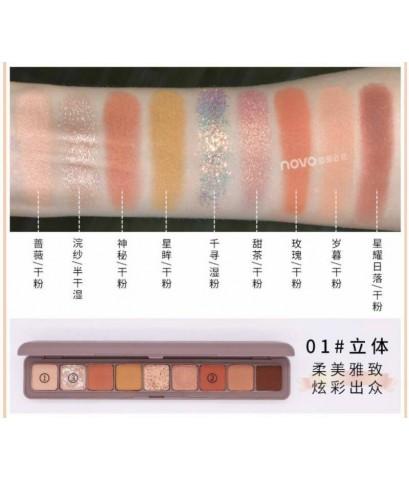 novo soft eye shadow lasting mackup 9 colors อายแชโดว์เนื้อนุ่ม 9 สีสันมีให้เลือก 3 โทนสี
