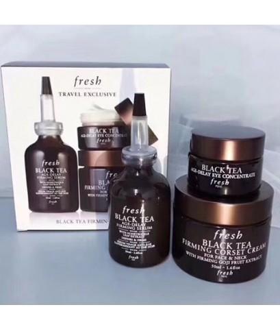 Fresh black tea firming trio travel exclusive ชุดบำรุงผิวหน้าและรอบตาสูตรชาดำ 3 ชิ้นขนาดเต็มไซค์