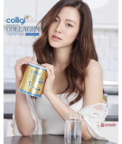Amado Colligi Hydrolyzed Fish Collagen Tripeptide plus Vitamin C กระป๋องทองสูตรใหม่ล่าสุด ของแท้
