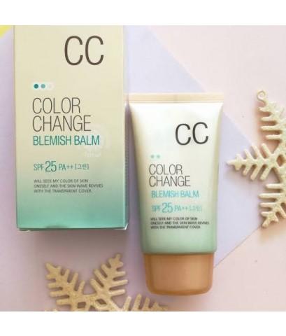 Welcos Color Change CC Cream SPF25 PA++ 50ml บีบีเทพ มีเบสเขียวในตัว 2in1ของแท้จากบริษัทค่ะ