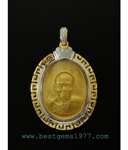 0130623A_EB กรอบหลวงพ่อคูณเหรียญทองคำ ฉลุลายจีน
