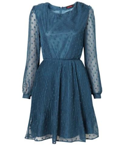 พร้อมส่ง  TopShop ชุด dressแขนยาวลายจุด กระโปรงพลีท ไซส์ S