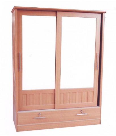 ตู้เสื้อผ้าบานเลื่อนกระจก งานสวย  ขนาด 150 ซม.