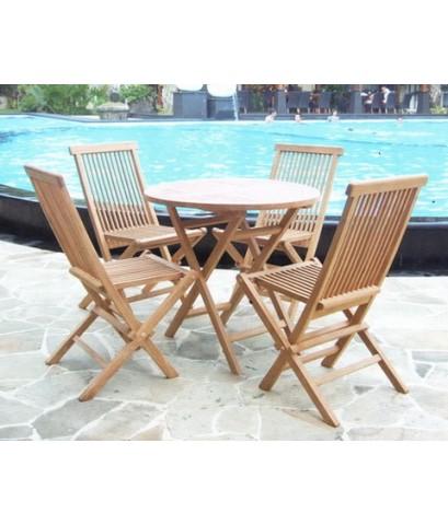 ชุดโต๊ะสนามกลมไม้สักทอง พร้อมเก้าอี้พับ 4 ที่นั่ง สามารถตั้ง Outdoor ได้คะ