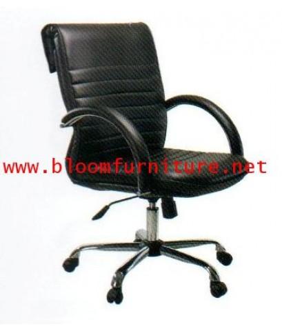 MO181B  เก้าอี้สำนักงานโครงเหล็ก ที่นั่งหลังพิงหุ้มหนัง มีโช๊คไฮโดรริกปรับสูงต่ำ