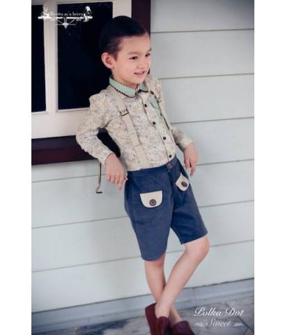 เสื้อเชิ้ตแขนยาว ปกสองชั้น สีขาวลายดอก ✿ เสื้อผ้าเด็ก สไตล์วินเทจ