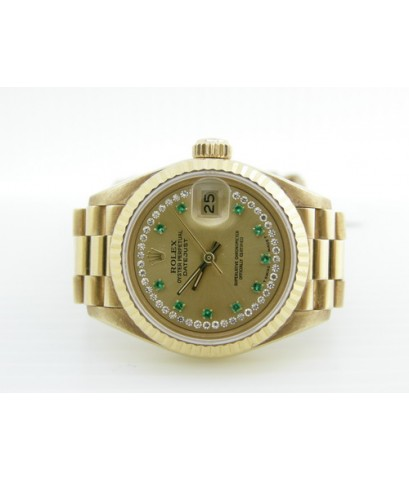 นาฬิกาโรเล็ก Lady เรือนทอง หน้าทองมรกต วินาทีเพชร